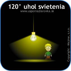 Uhol svietenia LED žiarovky do priestoru je 120 stupňov