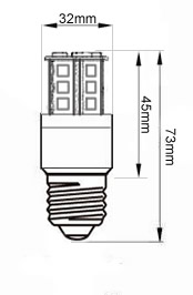 Technicke rozmery 3D vsesmerovej E27 mini ziarovky