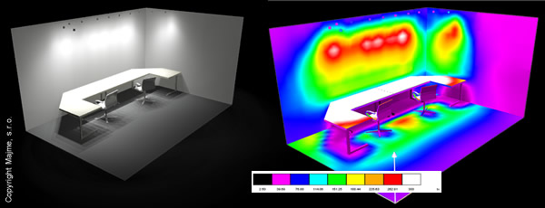 Výpočet svetla a odrazov za použitia GU10-60W bodovej LED žiarovky