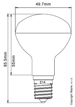 E14 R50 technické rozmery parabolickej ledky