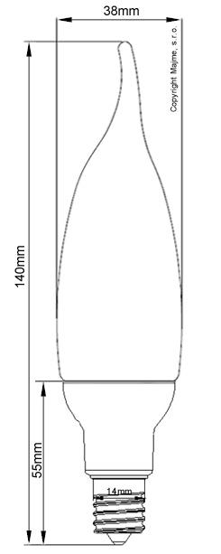 Technické rozmery LED COB E14 plamienkovej