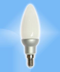 E14 sviečková 5W LED hliníková s mliečny sklom