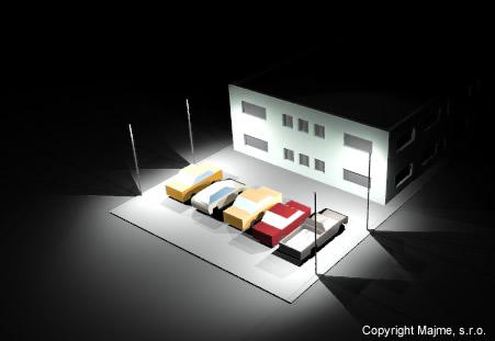 Projekcia svietivosti 30w reflektora nasvietenie vacsieho parkoviska