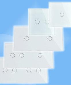 Biely sklenený panel pre dotykové spínače/stmievače