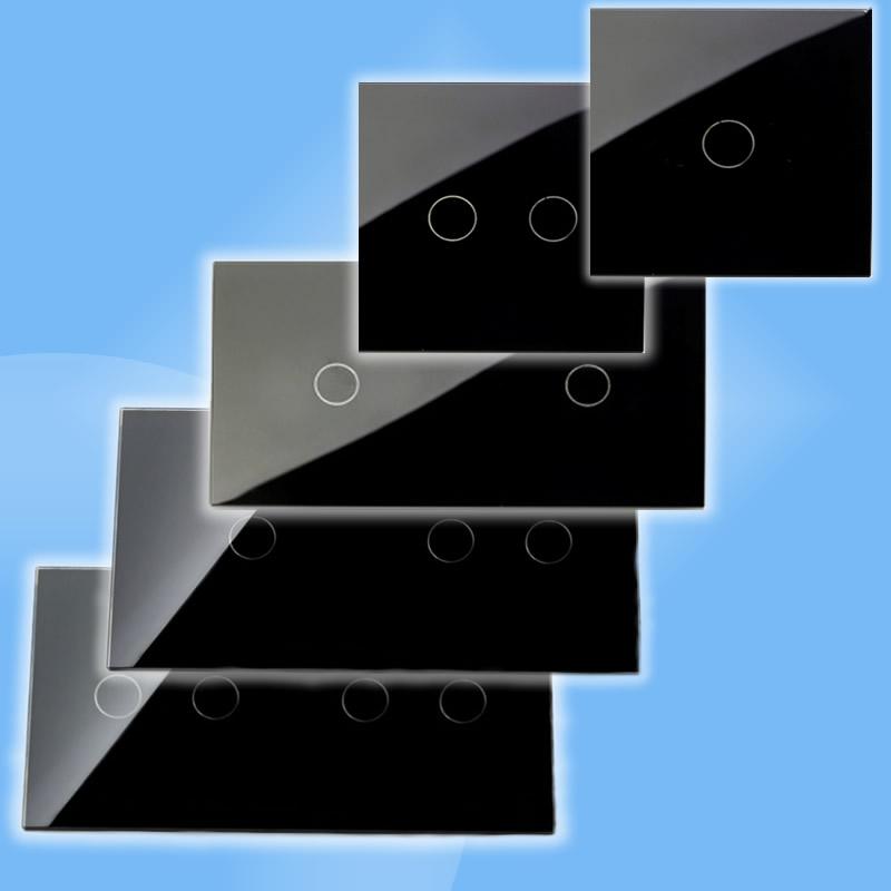 Čierny sklenený panel pre dotykové spínače/stmievače