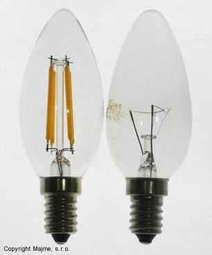 Porovnanie Klasickej a E14 imitácie LED