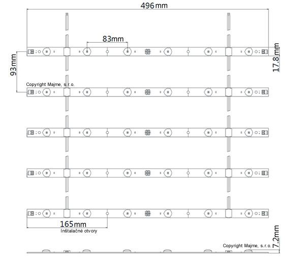 Technické rozmery roletové LED podsvietenia