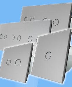 Strieborný sklenený panel pre dotykové spínače/stmievače