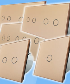 Zlatý sklenený panel pre dotykové spínače/stmievače